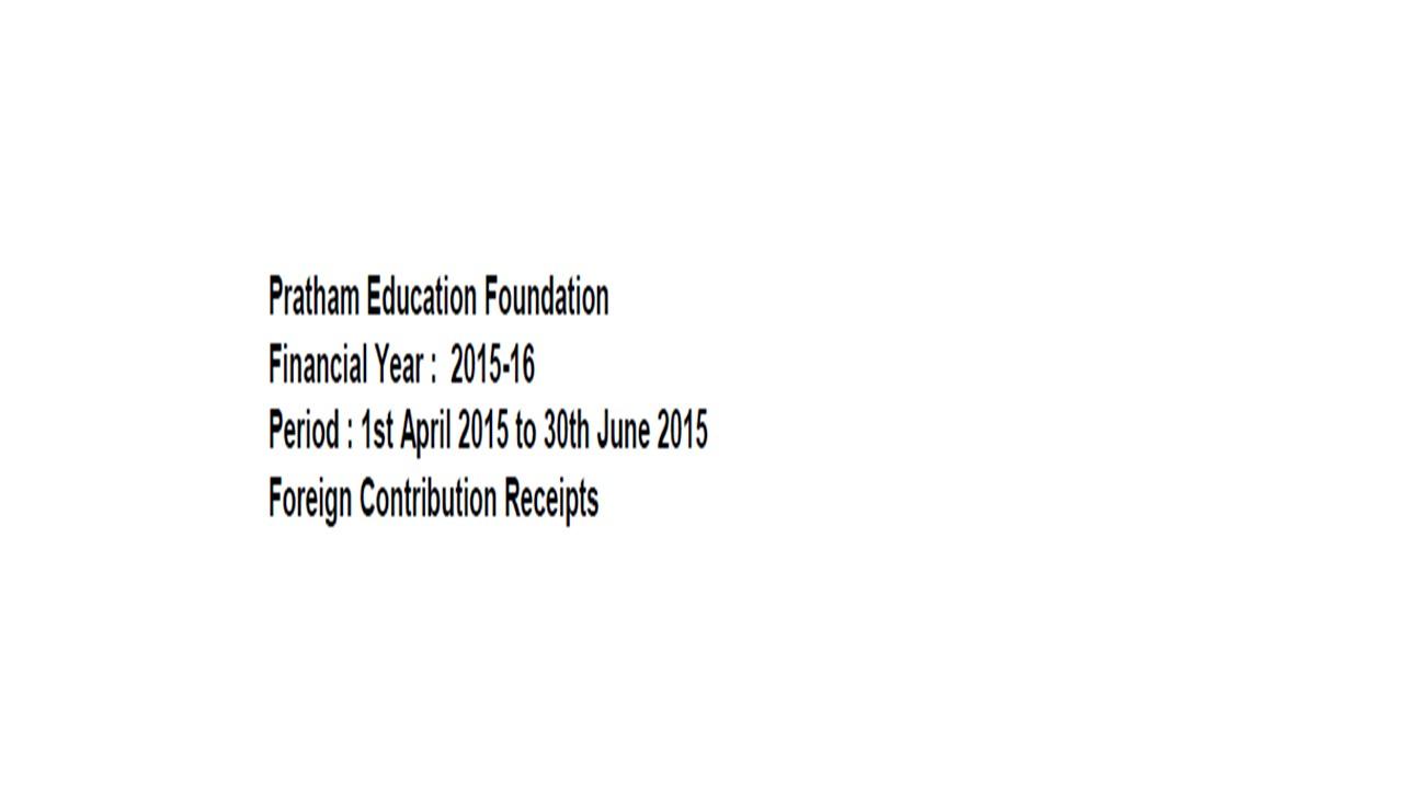 FCRA Declaration - April 2015 to June 2015