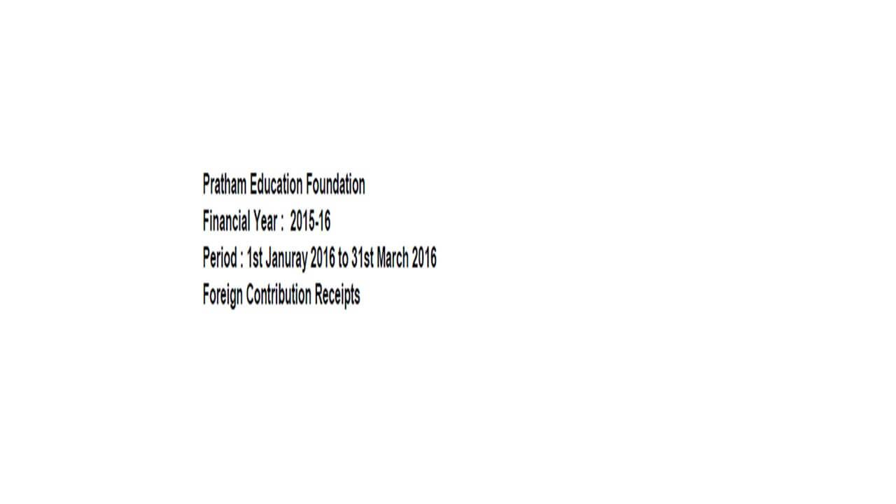 FCRA Declaration - Jan 2016 to Mar 2016