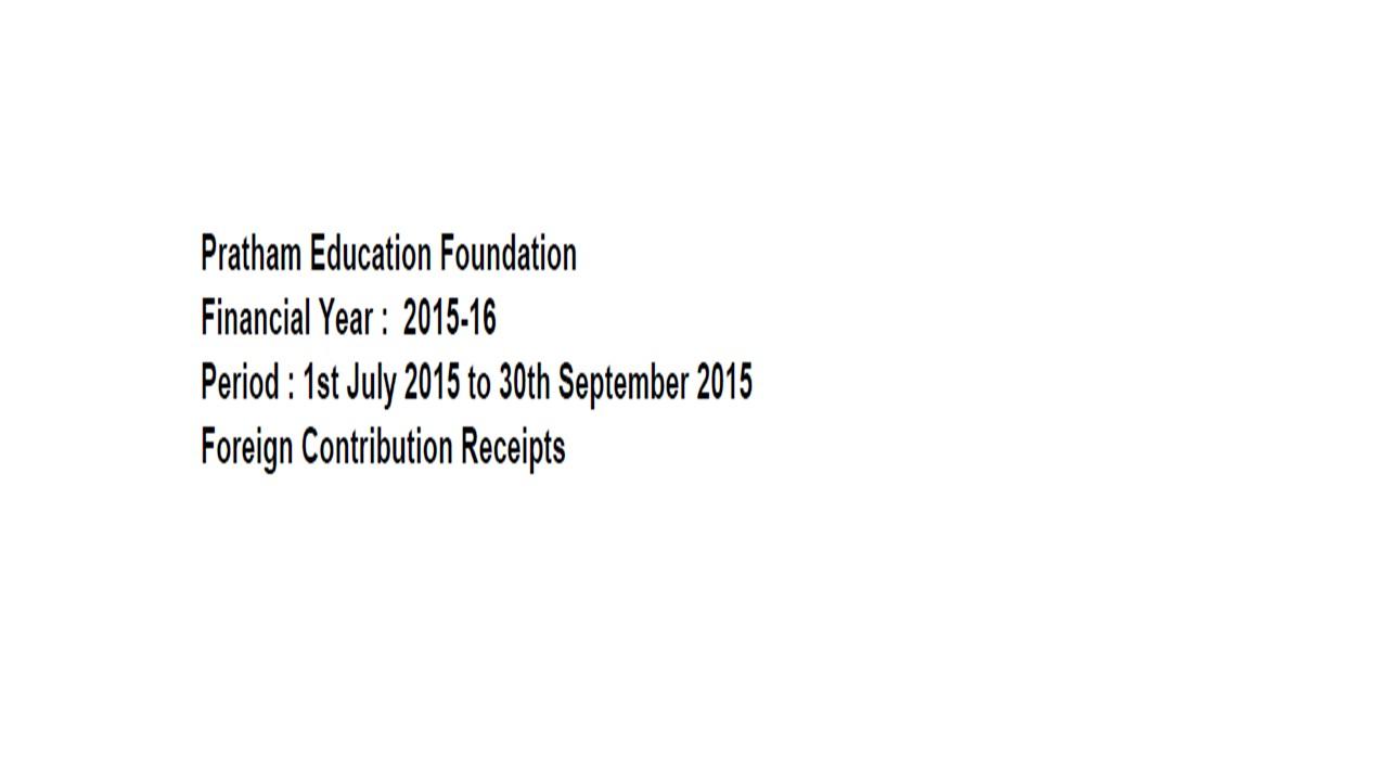 FCRA Declaration - July 2015 to Sept 2015