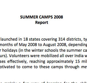 Summer Camp Report 2007-08